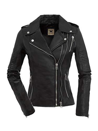Magnifica dames biker lederen jas Kate van boterzacht leer in zwart