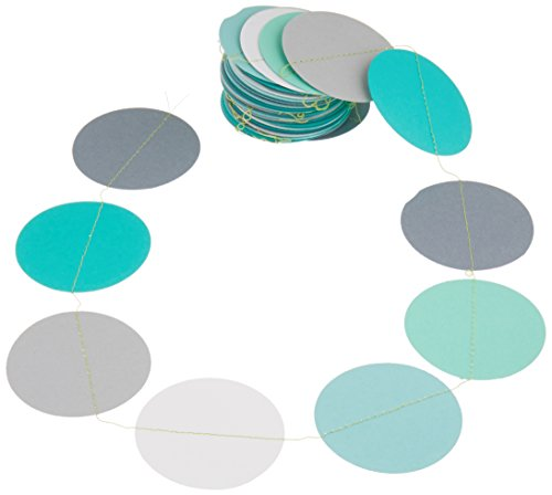 Boston Creative Teal white and gray paper garland, Heart garland, Wedding decoration, bridal shower, Birthday party decor, Paper circle garland,
