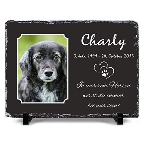 OS Manufaktur® - Gestalte selbst Deine Schieferplatte mit Bild 30x20 cm Gedenktafel für Menschen oder Haustiere Hund Katze personalisiert Gedenkplatte, Grabschmuck, Andenken (20x30cm Foto klein)