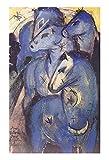 Caballos azules de Franz Marc Cuadro en Lienzo | Lienzos Decorativos | Cuadros Decoración Dormitorios | Cuadros Decoración Salón | Cuadros y láminas (35x56cm (13.8x22.1in), Sin Marco)