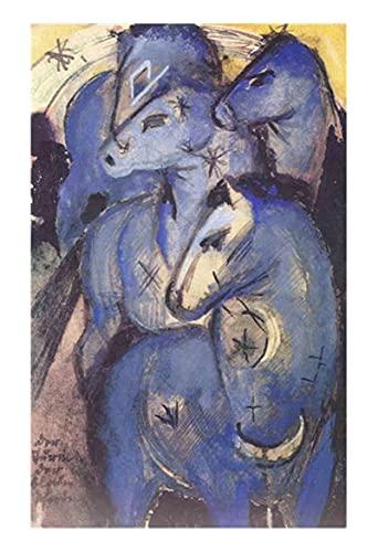 Caballos azules de Franz Marc Cuadro en Lienzo   Lienzos Decorativos   Cuadros Decoración Dormitorios   Cuadros Decoración Salón   Cuadros y láminas (35x56cm (13.8x22.1in), Sin Marco)