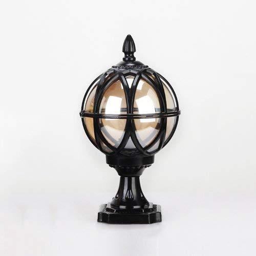 IUHUA Lámpara de Columna de Linterna de Vidrio de 32 CM, lámpara de Columna de lámpara de Escritorio de Mesa al Aire Libre, Luces de césped de Paisaje Impermeables de Aluminio Antiguo de tradición