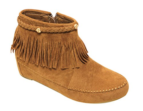 Bella Marie Campus-28 Womens Round Toe Moccasin Ankle High Faux Suede Boots,Tan,7