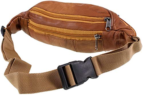 Lorenz Genuine Traditional All Soft Leather Bum Bag With 6 Zips, Tan