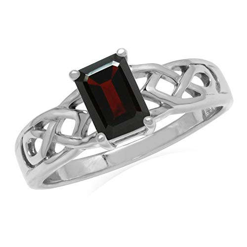 Silvershake 1.2ct. 7X5mm Natural Octagon Shape Garnet 925 Sterling Silver Celtic Knot Solitaire Ring Size 6