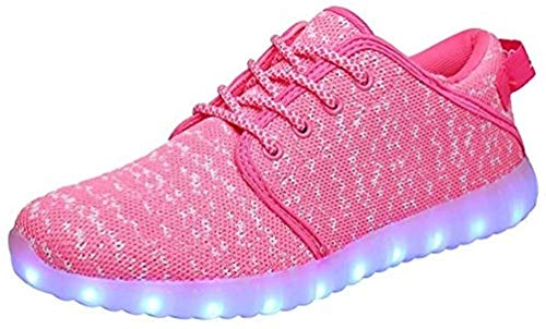 MOHEM ShinyNight LED Shoes Light Up USB Charging Flashing Sneakers(1687018Pink43)