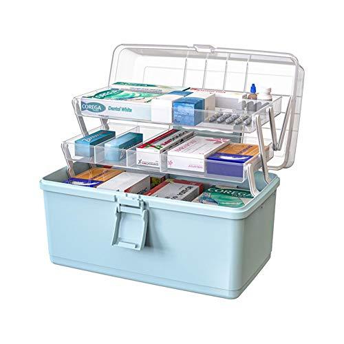 Caja de almacenamiento de medicamentos con cerradura segura Protable de 3 capas Plástico Caja Para Botiquin de Primeros Auxilios