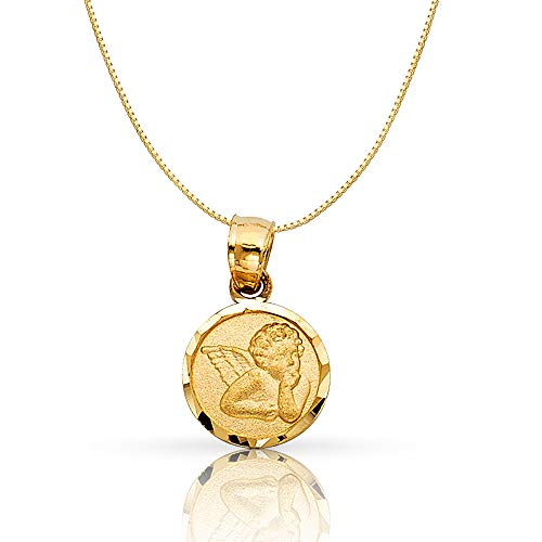 14K Yellow Gold Angel Religious Charm Pendant with 0.5mm Box Chain Necklace - 18
