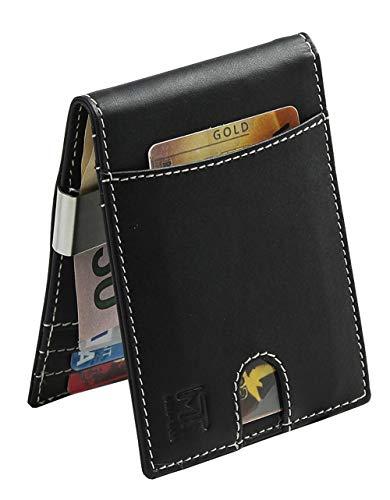MIN-TAN Money Clip Mens Wallets Slim Front Pocket RFID Blocking Card Holder Mini Bifold Gift Box (Black)