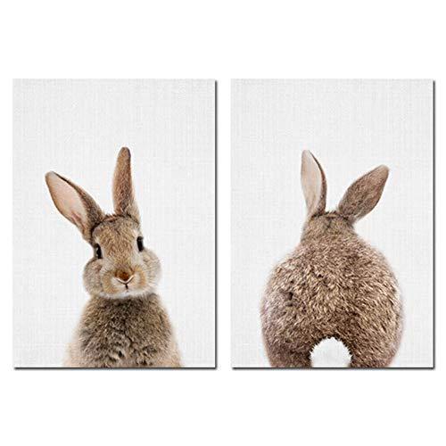 Conejito Conejo Cola Cuadros Bosque Animal Lienzos Póster Guardería Impresión Pintura Minimalista Nordicos Habitación De Niños 2 Piezas Sin Marco-A2 42x60cmx2