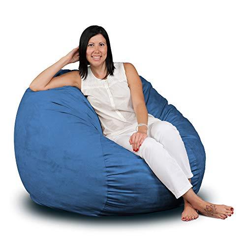 Fugu Schaumstoffgefüllte Sitzsäcke in verschiedenen Größen, Farben, Schutzeinlage, abnehmbarer Bezug für Maschinenwäsche XXX-Large blau