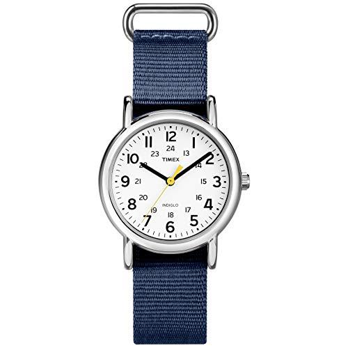 Timex Women's TW2U29900 Weekender 31 Blue/White Fabric Slip-Thru Strap Watch