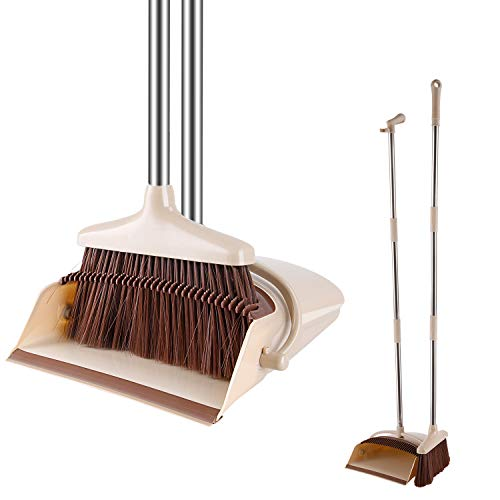 Windproof Broom and Dustpan Set Upright with Long Handle Great for Sweeping Kitchen£¬Office, House, Outdoors ¡ ¡