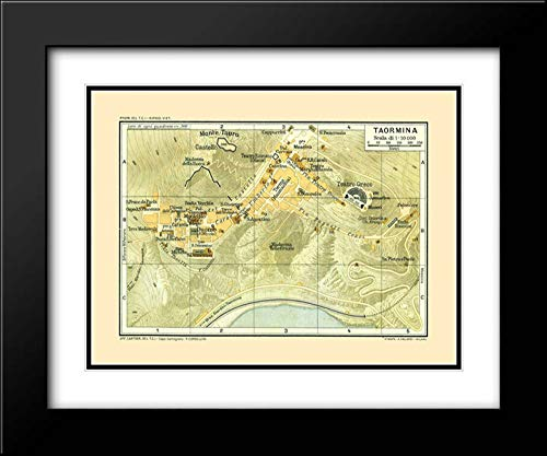 Baedeker 36x28 Black Modern Frame and Double Matted Museum Art Print Titled Taormina Sicily Italy - Baedeker 1880 Map