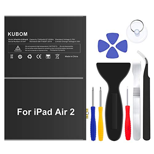 KUBOM Replacement Battery for iPad Air 2 or iPad 6, Full 7340mAh 0 Cycle Battery - Include Complete...