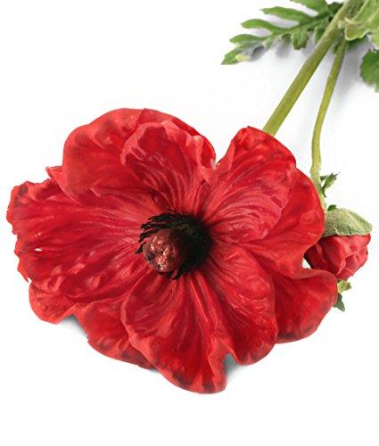 Closer 2 Nature F090RL Floral Elegance, Künstliche Mohn Blume, 74 cm, Einzelblume, rot