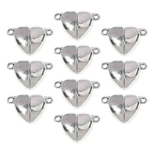 perfeclan Cierres magnéticos de Bloqueo para joyería, Cierres de Collar Cierres de Pulsera Conectores Extensores de joyería para la fabricación de Joyas - Forma de corazón 10 Piezas