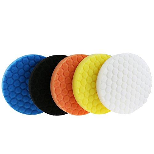 YCNK 7 pouces Kit de polissage polyamide hexagonal hexagonal 180 mm pour politesse de voiture Pack bricolage de 5 pièces Noir Bleu Jaune Blanc Orange