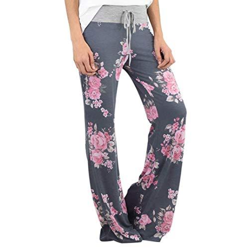 BOLAWOO-77 Señoras Del Diseño Floral Pantalones Largos De Pierna Ancha Mode Básicos Pantalones Anchos Bootcut De Los Pantalones De Vestir Azul Mujeres De Los Pantalones De Moda 2020