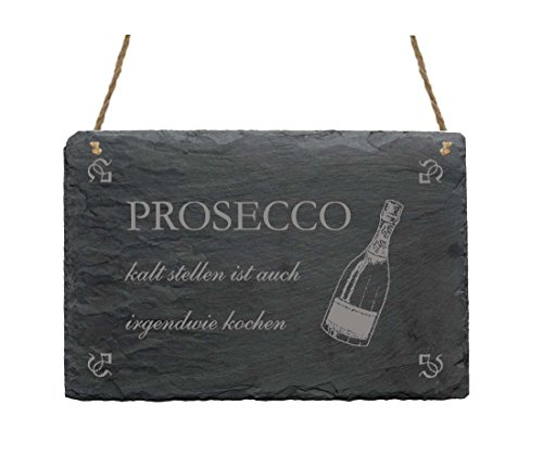 Schiefertafel PROSECCO KALT STELLEN ist auch irgendwie kochen - mit Motiv Sektflasche - Dekoschild Schild Dekoration