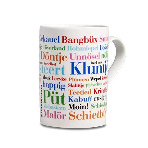 Tasse Ostfriesische Wörter, Mundart-Kaffeebecher mit Begriffen aus Ostfriesland als Souvenir oder Geschenkidee, mehrfarbig