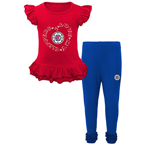 "NBA Los Angeles Clippers Kids ""Team Love"" Ruffle Shirt and Pant Set, Large (6X), Red"