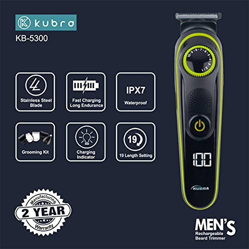 Kubra KB-5300 5 IN 1 Multifunctional Grooming Kit For Body Grooming, Beard & Moustache, Nose, Ear & Eyebrow, LED Display, 19 Length Setting, 90 minutes runtime and Fast Charging (Yellow)