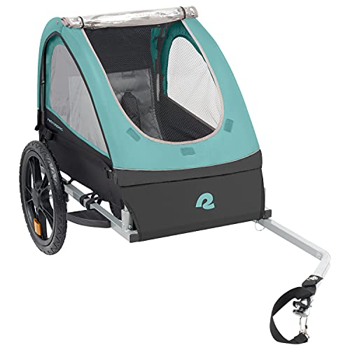 Retrospec Rover Kids Bicycle Trailer - Single & Double Passenger Children's Foldable/Collapsible Tow Behind Bike Trailer with 16' Wheels, Safety Reflectors & Rear Storage Compartment - Blue Ridge