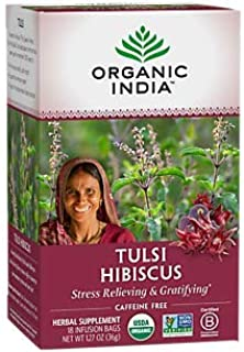 Organic Tulsi Hibiscus Tea Stress Relieving Gratifying Caffeine Free (18 Tea Bags)