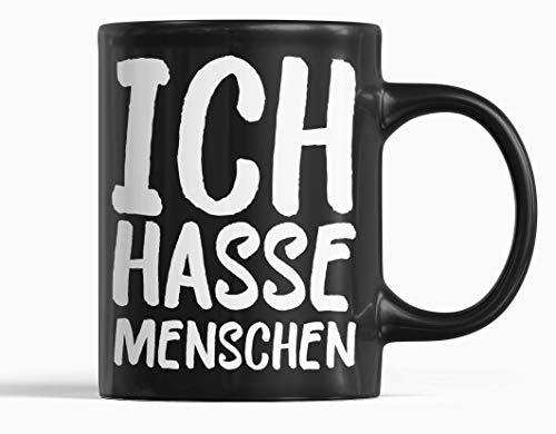 ICH HASSE MENSCHEN Tasse schwarz Spruchtasse Keramik Becher 300ml Spülmaschinenfest