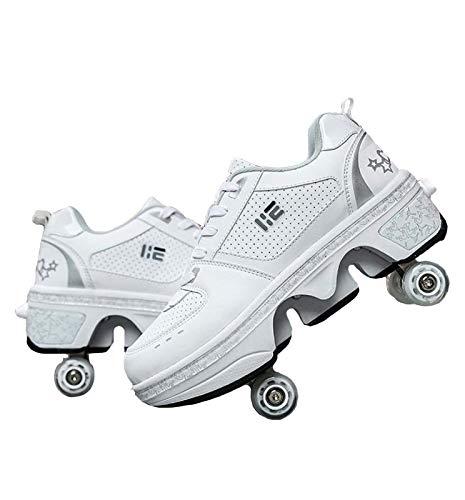 KUXUAN Rollschuhe Damen,Roller Skate Schuhe,2 In 1 Inline Skates Kinder,Schuhe Mit Rollen Skateboardschuhe,Verstellbare Quad Skate Rollerskates Skating Sneakers Geschenke Für Kinder,White-EU34=UK1.5