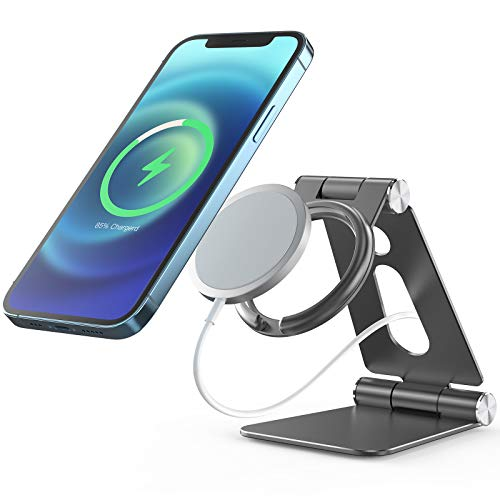 MagSafe Charger Stand, Avolare Foldable MagSafe Charger Holder, Adjustable Aluminum MagSafe Mobile Phone Stand, Portable Desk Holder Compatible with iPhone 12 12 Pro 12 mini 12 Pro Max - Grey