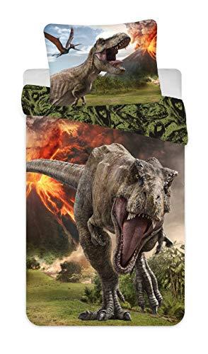 Jerry Fabrics Jurassic World Volcano, Juego de Ropa de Cama, Funda de Edredón 140 x 200 cm y Funda de Almohada 70 x 90 cm, 100% Algodón