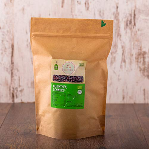 süssundclever.de® Korinthen Bio | 1 kg | Premium Qualität: hochwertiges Naturprodukt | plastikfrei abgepackt in ökologisch-nachhaltiger Bio-Verpackung