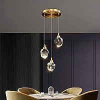 HJW 装飾的なライトモダンなスパイラル階段のクリスタルペンダントライト、リビングルームの寝室のキッチンバーのためのLed 3色の調光チャンダーライトライトライトの備品,銅,3ラウンド