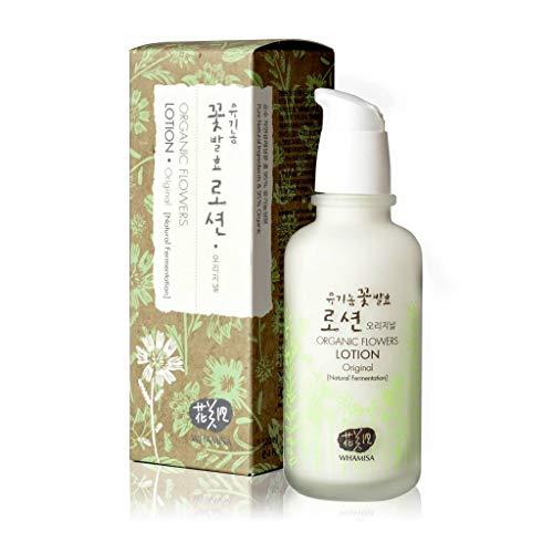 WHAMISA Organic Flowers Lotion Original - Korean Skin Care Gesichtslotion auf Aloe Vera Basis Leichte Damen Tagespflege - Koreanische Kosmetik fürs Gesicht Sanft Fermentiert - 120ml