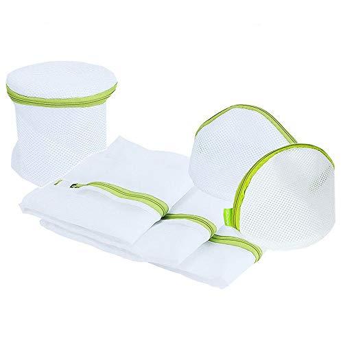 Wäschenetz für Waschmaschine Wäschesack Set mit Reißverschluß Wäschebeutel für BH's, Unterwäsche, Socken, Baby Kleidung (6 Stück) Grün/Weiß
