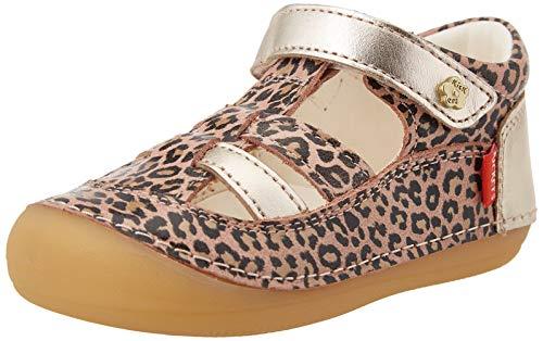 Kickers SUSHY, Zapatos Planos Mary Jane Unisex bebé, Beige Leopard, 21 EU