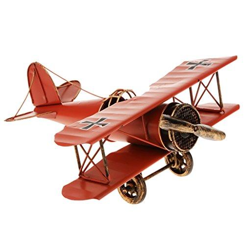 Jahrgang Metall Flugzeugmodell Doppeldecker Militärflugzeuge Nach Hause Dekor Spielzeug - Rot