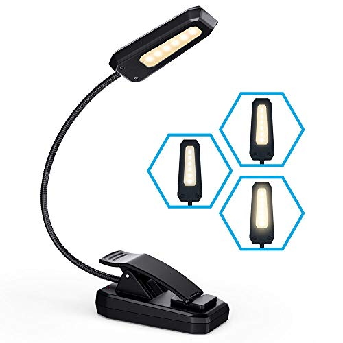 Vont Book Light, Reading Light, Rechargeable Book Light for Reading in Bed, (90 Hours) Eye Protection LEDs Reading Lamp, Clip On Light, Clamp Light, Bed Lamp, 3 Modes, Warm White Light (3000k)