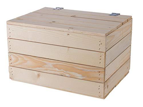 Helle Natur Holztruhe 49cm x 36cm x 29cm Obstkisten Weinkiste Truhe unbehandelt Vintage Look Landhaus Wohnzimmer Schatztruhe Kiste aus Holz