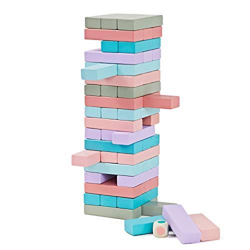 Lewo 54 Piezas Torre de Madera Block Colores Juegos de construcción