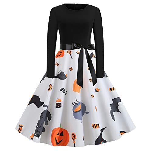 Vintage Halloween Frauen Kleid Damen O-Neck Casual Langarm Abend Party Abendkleid Kostümfest Swing Kleid