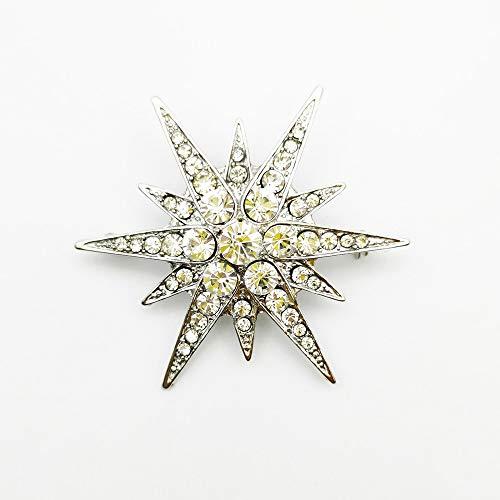 JWGD - Broche de estrella victoriana con diamantes de imitación de estrellas y broches de estrás, color plateado brillante, para mujer (tamaño: transparente)