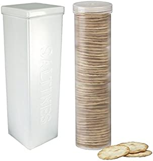 Set of 2 - Saltine Cracker Sleeve Storage Container/Cookie Stay Fresh Keeper, Round and Square