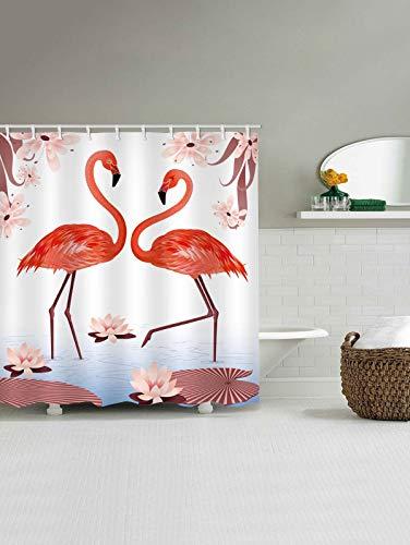 Gutgojo Anti-Schimmel Duschvorhang 180cm x200cm Waschbarer Textil Badvorhang Flamingo Digitaldruck inkl. 12 Duschvorhangringe für Badezimmer (Typ 4)