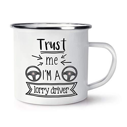 Trust Me I'm A Lorry Driver Enamel Mug Cup