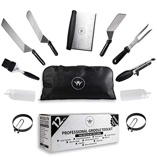 %9 OFF! Weselyn Flat Top Grill Accessories Kit - 12-Pc Griddle Set with Burger Spatulas, Scraper, Eg...