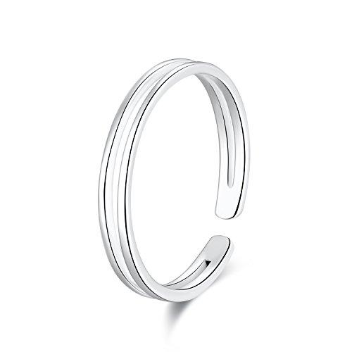 SILBERTALE Anillo de plata de ley 925 para mujer, minimalista, línea fina, abierta, ajustable, tamaño E-Q