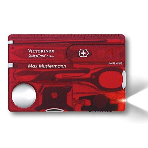 Victorinox SwissCard Lite Taschenmesser Rot-transparent mit LED Licht Persönliche Wunsch-Gravur